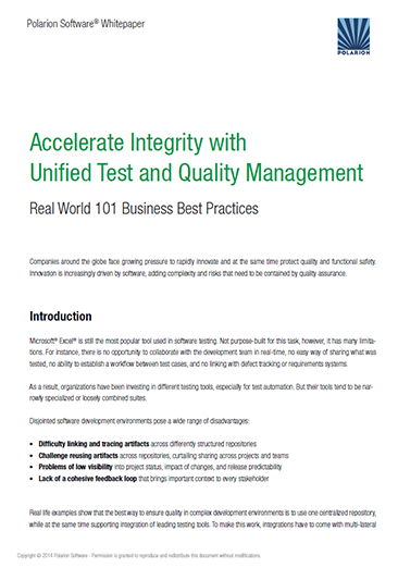 Whitepaper: Accelerate Integrity with Unified Test and Quality Management