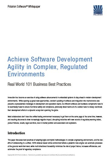 Whitepaper: Achieve Software Development Agility  in Complex, Regulated Environments