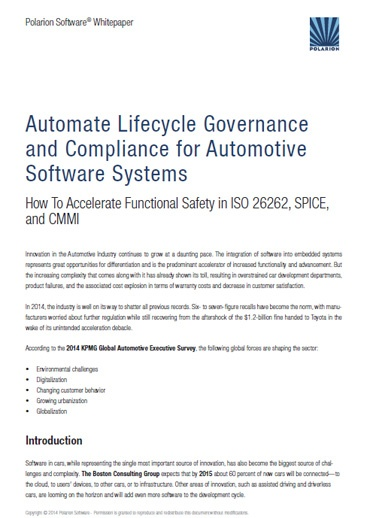 Whitepaper: Automate Lifecycle Governance and Compliance for Automotive Software Systems