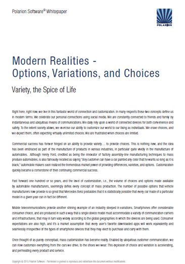 Free Whitepaper: Modern Realitiew, Options, Variations and Choices