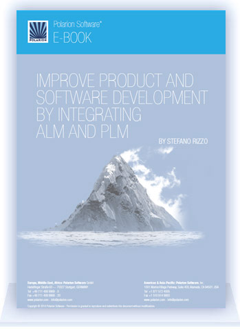 Cover image of free Polarion eBook: Improve Product and Software Development by Integrating ALM and PLM