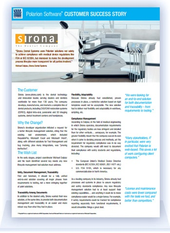 Polarion Customer Success: Sirona Dental Systems